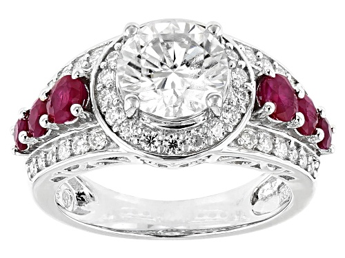 Photo of Pre-Owned MOISSANITE FIRE® 2.62CTW DEW AND .87CTW RUBY PLATINEVE™ RING - Size 7