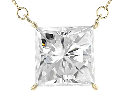 Photo of Pre-Owned MOISSANITE FIRE(R) 10.32CT DEW SQUARE BRILLIANT 14K YELLOW GOLD 18 INCH NECKLACE - Size 18