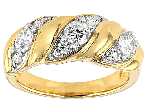 Photo of Pre-Owned MOISSANITE FIRE(R) .87CTW DEW ROUND 14K YELLOW GOLD OVER SILVER RING - Size 7