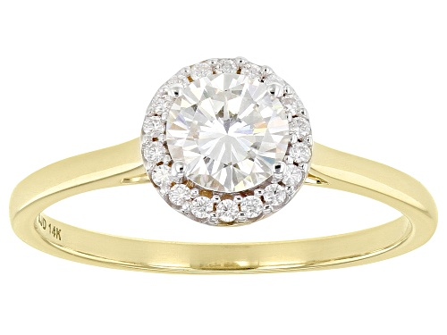 Photo of Pre-Owned MOISSANITE FIRE(R) .78CTW DEW ROUND 14K YELLOW GOLD RING - Size 7