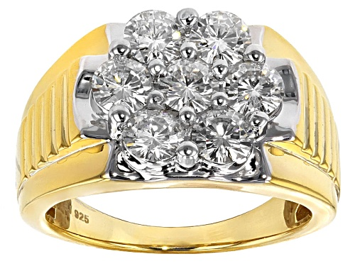 Photo of Pre-Owned Moissanite Fire® 2.31ctw Dew Round 14k Yellow Gold Over Silver Mens Ring - Size 11