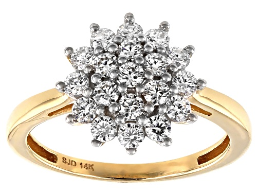Pre-Owned MOISSANITE FIRE(R) .76CTW DEW ROUND 14K YELLOW GOLD RING - Size 7