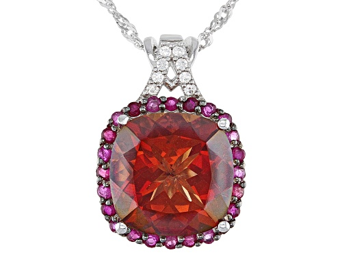 Photo of Pre-Owned 5.40ct Labradorite & .50ctw Burmese Ruby & Zircon Rhodium Over Silver Pendant With Chain