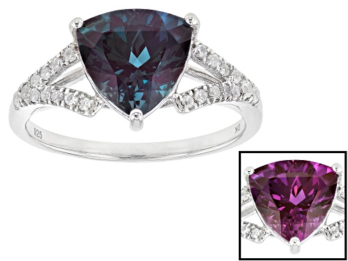 Photo of Pre-Owned 2.81CT TRILLION LAB CREATED ALEXANDRITE WITH .18CTW ROUND WHITE ZIRCON RHODIUM OVER SILVER - Size 7