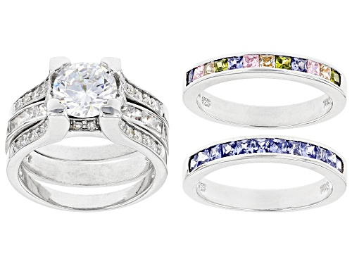 Photo of Pre-Owned Bella Luce ® 6.53ctw Multicolor Diamond Simulants Rhodium Over Sterling Silver Rings With - Size 8