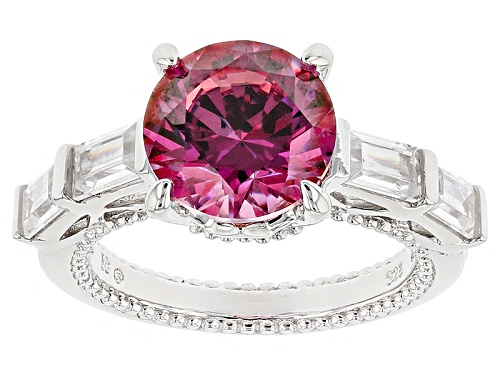 Photo of Pre-Owned Bella Luce ® 8.49ctw Rhodium Over Sterling Silver Ring With Red Swarovski ® Zirconia - Size 7