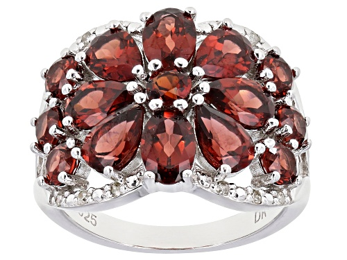 Photo of Pre-Owned 5.16ctw Mixed Shape Vermelho Garnet(TM) & Diamond Accent Rhodium Over Silver Band Ring - Size 7