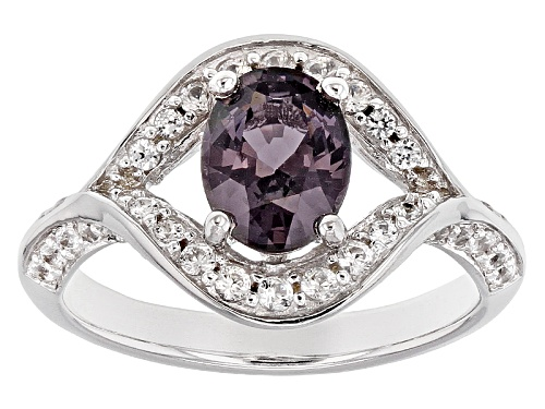 Photo of Pre-Owned 1.15ct Oval Myanmar Purple Spinel With .54ctw White Zircon Rhodium Over Sterling Silver Ri - Size 6