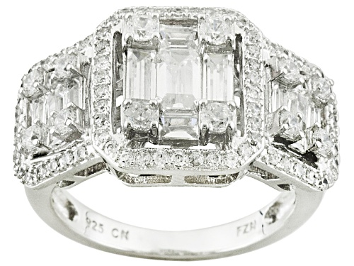 Photo of Pre-Owned Bella Luce ® 2.70ctw Baguette And Round Rhodium Over Silver Ring (1.95ctw Dew) - Size 9