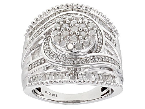 Photo of Pre-Owned 1.35ctw Baguette And Round White Diamond Rhodium Over Sterling Silver Cluster Ring - Size 9