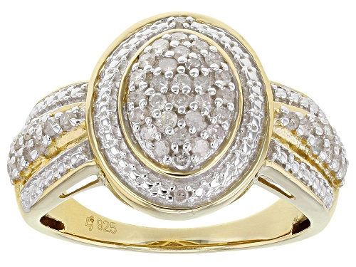 Photo of Pre-Owned 0.50ctw Round White Diamond 14K Yellow Gold Over Sterling Silver Cluster Ring - Size 7