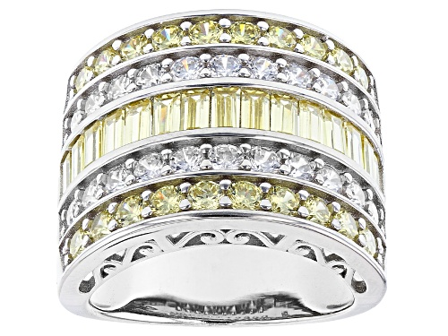Photo of Pre-Owned Bella Luce ® 8.94ctw Canary And White Diamond Simulants Rhodium Over Silver Ring (4.62ctw - Size 5