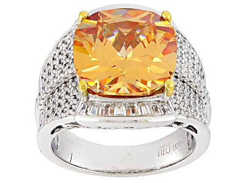 Photo of Pre-Owned Bella Luce ®13.97ctw Champagne And White Diamond Simulants Rhodium Over Sterling Ring(7.90 - Size 5