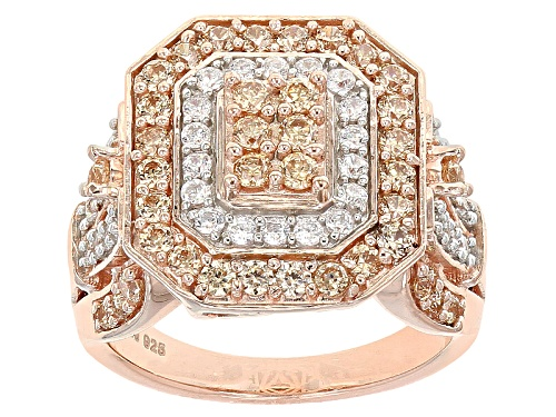 Photo of Pre-Owned Bella Luce ® 3.10ctw Champagne & White Diamond Simulant Round Eterno ™ Rose Ring (1.57ctw - Size 11