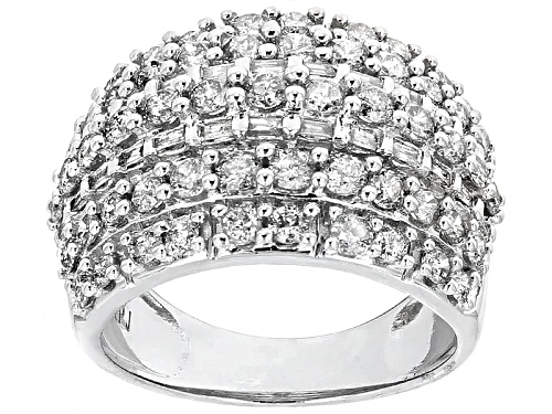 Photo of Pre-Owned 2.25ctw Round And Baguette White Diamond 10k White Gold Ring - Size 6