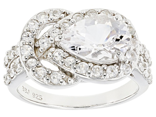 Photo of Pre-Owned 1.32ct Pear Shape Goshenite With 1.04ctw Round White Zircon Sterling Silver Ring - Size 7