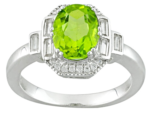 Photo of Pre-Owned 2.11ct Oval Manchurian Peridot™ With .59ctw Baguette And Round White Zircon Silver Ring - Size 11