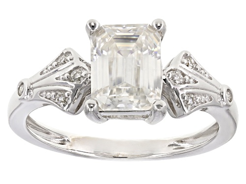 Photo of Pre-Owned MOISSANITE FIRE® 1.83CTW DEW EMERALD CUT AND ROUND PLATINEVE™ RING - Size 6