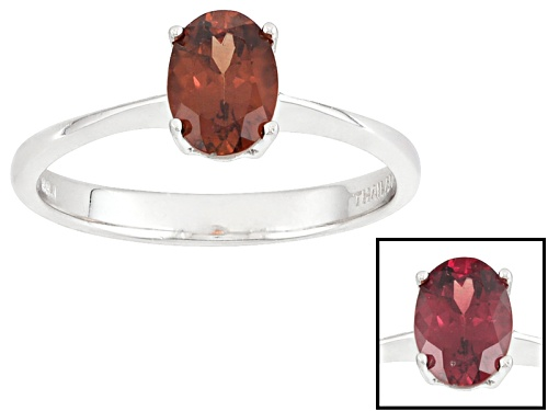 Photo of Pre-Owned .82ct Oval Color Shift Garnet Solitaire Sterling Silver Ring - Size 7