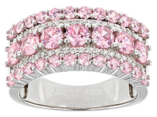 Photo of Pre-Owned Bella Luce ® 4.35ctw Pink And White Diamond Simulants Rhodium Over Silver Ring (2.13ctw DE - Size 5