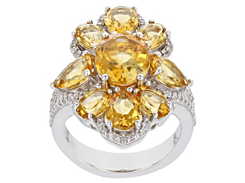 Photo of Pre-Owned 6.10ctw Citrine With 0.30ctw White Zircon Rhodium Over Sterling Silver Ring - Size 6