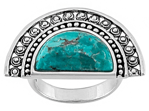 Photo of Pre-Owned Southwest Style By Jtv™ Crescent Shape Cabochon Turquoise Sterling Silver Solitaire Ring - Size 5