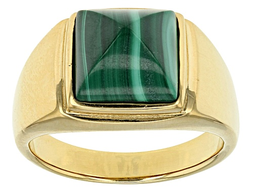 Pre-Owned Fancy Pyramid Cabochon Malachite 18k Gold Over Silver Men's Ring. - Size 10