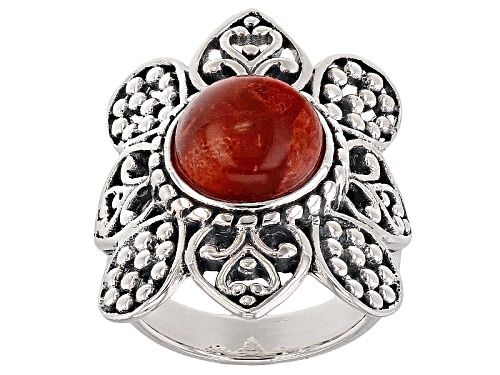 Photo of Pre-Owned Southwest Style By Jtv™ 10mm Round Cabochon Red Sponge Coral Sterling Silver Solitaire Rin - Size 7