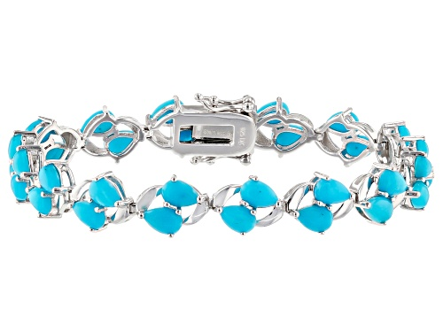 "Photo of Pre-Owned 6x4mm Pear Shape Sleeping Beauty Turquoise Rhodium Over Silver ""S"" Bar Bracelet - Size 7.25"