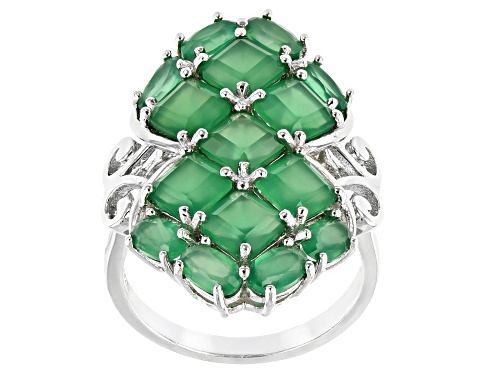 Photo of Pre-Owned 5mm Square Octagonal & 5x3mm Oval Green Onyx Rhodium Over Sterling Silver Cluster Ring - Size 9