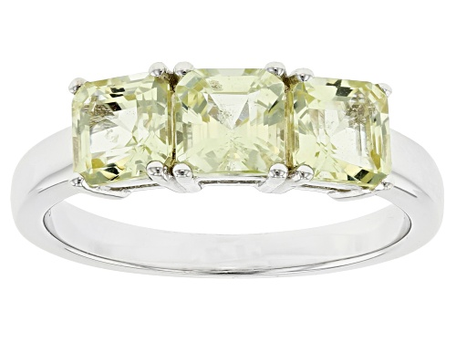Photo of Pre-Owned 1.91ctw Asscher Cut Yellow Apatite Rhodium Over Sterling Silver 3-Stone Ring - Size 7