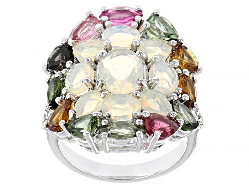 Photo of Pre-Owned 1.98ctw Ethiopian Opal with 2.62ctw Multi-Tourmaline & .08ctw White Zircon Rhodium Over Si - Size 9