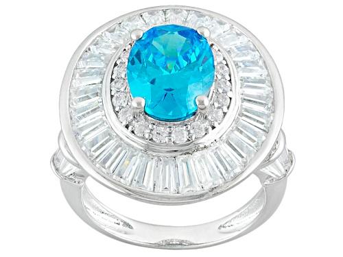 Photo of Pre-Owned Bella Luce ® Esotica™ 8.82ctw Neon Apatite & White Diamond Simulants Rhodium Over Sterling - Size 5