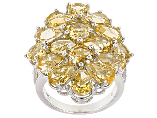 Photo of Pre-Owned 7.85ctw Mixed Shaped Golden Citrine With 0.15ctw White Zircon Rhodium Over Sterling Silver - Size 9