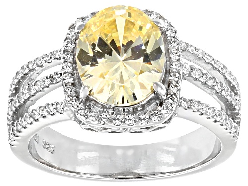 Photo of Pre-Owned Bella Luce®5.10ctw Canary And White Diamond Simulants Rhodium Over Sterling Silver Ring(2. - Size 6