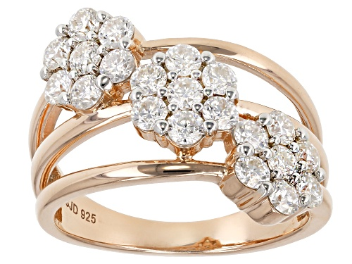 Photo of Pre-Owned Moissanite Fire® 1.26ctw Dew Round 14k Rose Gold Over Silver Ring - Size 6