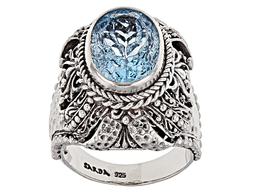 Photo of Pre-Owned Artisan Gem Collection Of Bali™ 14x10mm Oval Carved Blue Topaz Sterling Silver Solitaire R - Size 11
