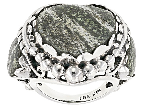 Photo of Pre-Owned Southwest Style by JTV™ heart shape and round green zebra jasper sterling silver ring - Size 5