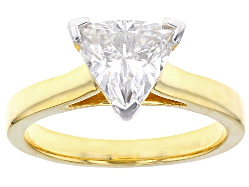 Photo of Pre-Owned MOISSANITE FIRE® 1.60CT DEW TRILLION CUT 14K YELLOW GOLD OVER SILVER RING - Size 7