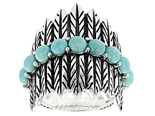 Photo of Pre-Owned Southwest Style By Jtv™ 4mm Round Cabochon Turquoise Sterling Silver Feather Ring - Size 7