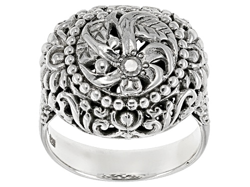 Photo of Pre-Owned Artisan Gem Collection Of Bali™ .06ct Round White Single Diamond Accent Silver Floral Ring - Size 11