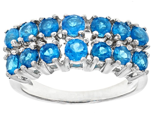 Photo of Pre-Owned 1.27ctw Round Neon Apatite Rhodium Over Sterling Silver Band Ring - Size 6
