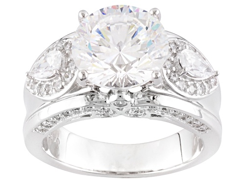 Photo of Pre-Owned Bella Luce ® Dillenium Cut 7.63ctw Round & Pear Shape Rhodium Over Silver Ring - Size 7