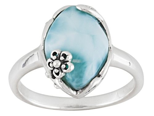 Photo of Pre-Owned Oval Cabochon Larimar Sterling Silver Ring - Size 8