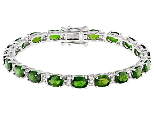 Photo of Pre-Owned 14.00ctw Oval Chrome Diopside With 1.15ctw Round White Zircon Sterling Silver Bracelet - Size 7