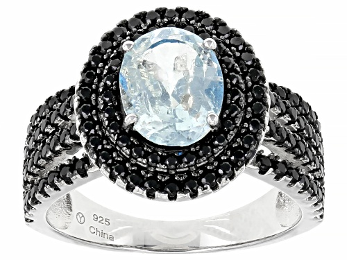 Photo of Pre-Owned 1.50ct Oval Aquamarine With 1.30ctw Round Black Spinel Sterling Silver Ring - Size 9