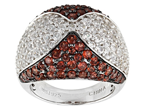 Photo of Pre-Owned 2.45ctw Round Vermelho Garnet™ With 2.52ctw Round White Zircon Sterling Silver Ring - Size 6