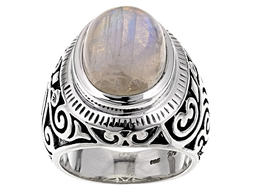 Photo of Pre-Owned Artisan Gem Collection Of India, Oval Cabochon Rainbow Moonstone Sterling Silver Solitaire - Size 5