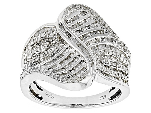 Photo of Pre-Owned 1.00ctw Round And Baguette White Diamond Rhodium Over Sterling Silver Ring - Size 6