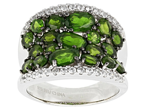 Pre-Owned 4.07ctw Oval And Round Russian Chrome Diopside With .60ctw Round White Zircon Sterling Sil - Size 5
